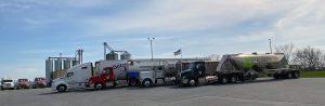 Four division trucks